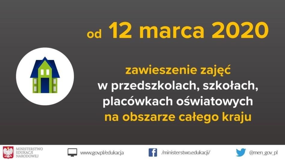 Zawieszenie zajęć wszkole od12 do25 marca 2020r.