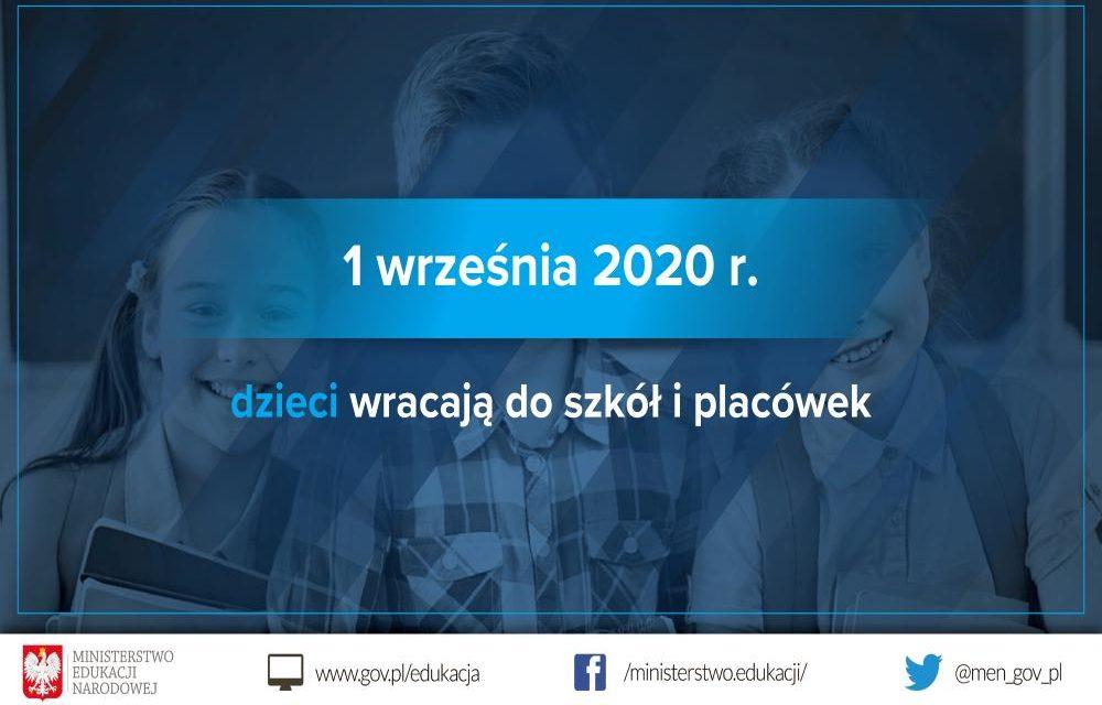 Wytyczne GIS, MZ iMEN dla publicznych iniepublicznych szkół iplacówek od1 września 2020 r.