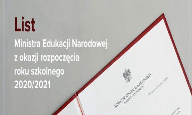 List Ministra Edukacji Narodowej zokazji rozpoczęcia roku szkolnego 2020-2021
