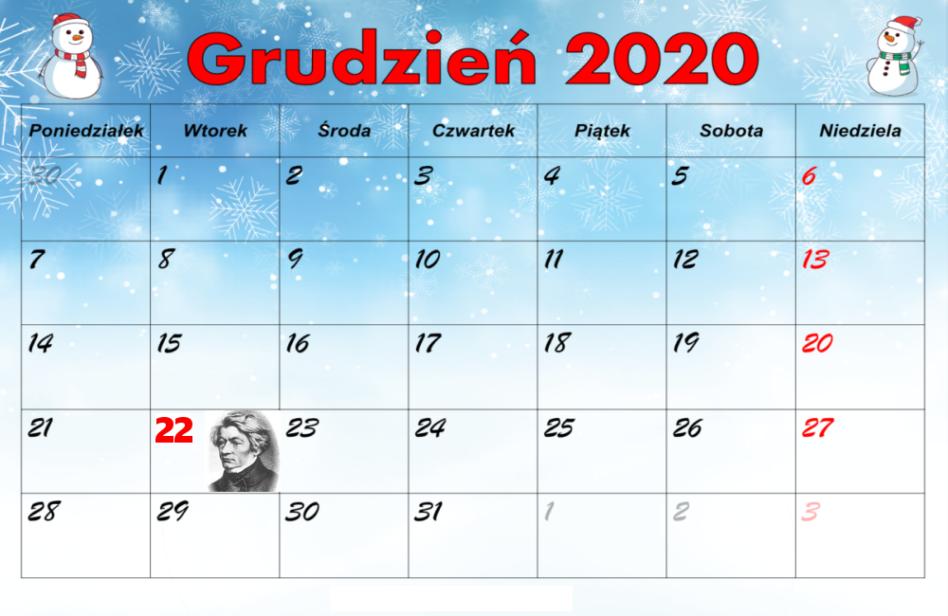 Kartka zkalendarza szkolnego – 22 grudnia 2020r.